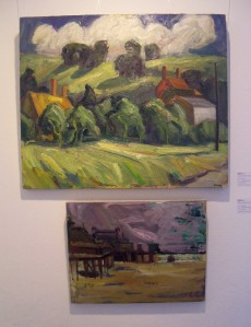 Nick Schlee - Houses and White Clouds (above); Purple from West, purple sky, yellow beach (below)