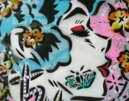 Edo City Girl - Sweetheart Kiss - Lady Aiko - Original mixed media on canvas