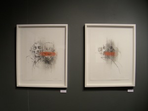 'Unseen' and 'Mouth to Mouth' (both graphite and pastel on paper)