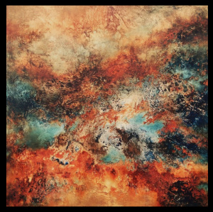 Geo, by Marta Ptaszkiewicz, 2020. Original artwork, oil on canvas, 50x50cm. This is one of my favourites; it's the furnace, the crucible of creation, brilliant alchemical fire.